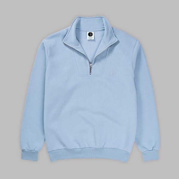 POLAR SKATE CO. ZIP NECK SWEATSHIRT POWDER BLUE