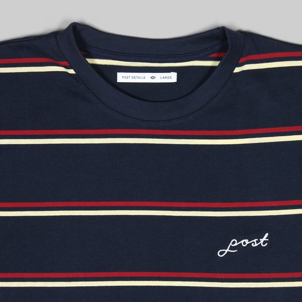 POST DETAILS STRIPE SS T- SHIRT NAVY