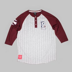 PRIMITIVE FIELDER RAGLAN HENLEY HEATHER BURGUNDY