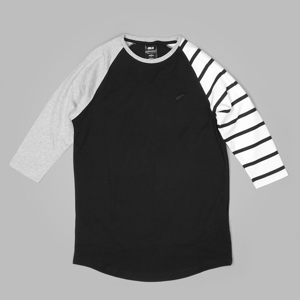 PUBLISH EAST Premium baseball raglan Tee Black White