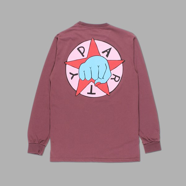 BY PARRA PARTY LONG SLEEVE TEE EGGPLANT