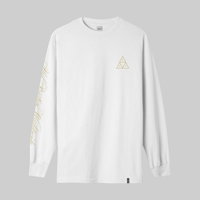 HUF PRESTIGE TRIPLE TRIANGLE LS T-SHIRT WHITE