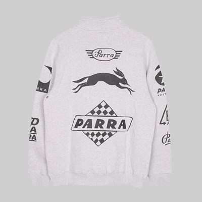 BY PARRA SPONSORED QUARTER ZIP SWEATER ASH GRAY