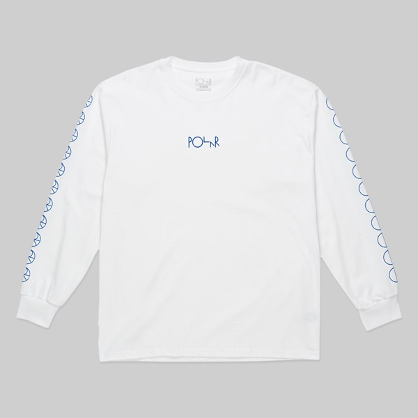 POLAR SKATE CO. RACING LOGO LS TEE WHITE