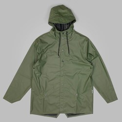 RAINS HOODED JACKET GREEN