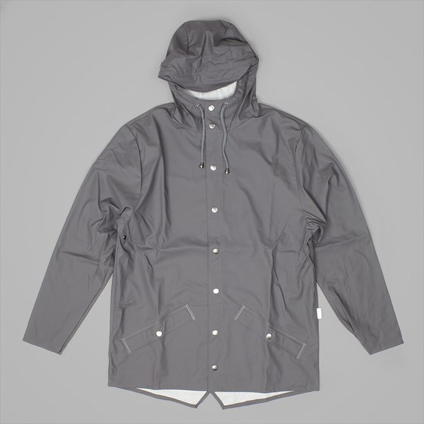 RAINS HOODED JACKET SMOKE
