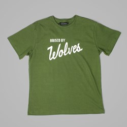 RAISED BY WOLVES VARSITY TEE OLIVE DRAB