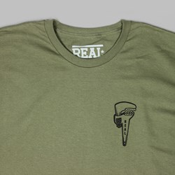 REAL SKATEBOARDS 'WRENCH JUSTICE' TEE GREEN