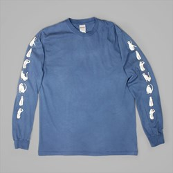 RIP N DIP CATS LONGSLEEVE T SHIRT WASHED BLUE