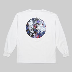 POLAR SKATE CO. SKELETON FILL LOGO LS TEE WHITE