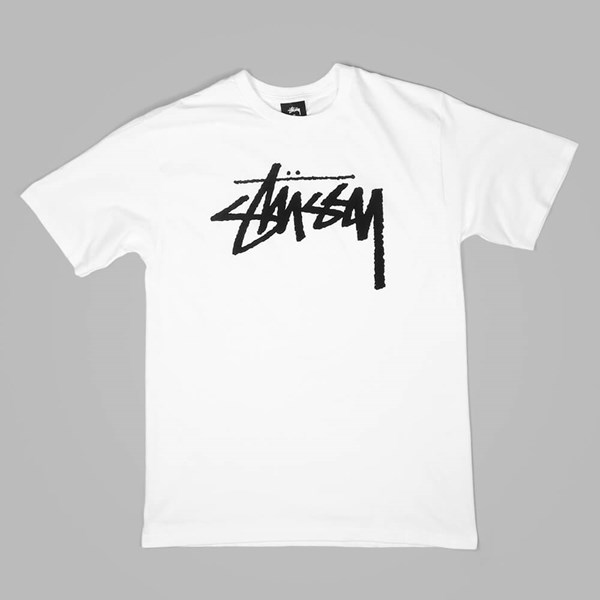 STUSSY STOCK T SHIRT WHITE