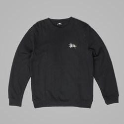 STUSSY BASIC LOGO APPLIQUE CREWNECK BLACK