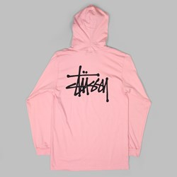 STUSSY BASIC LONG SLEEVE TEE HOOD TEE DUST ROSE
