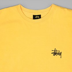 STUSSY BASIC PIGMENT DYED T SHIRT FADED YELLOW