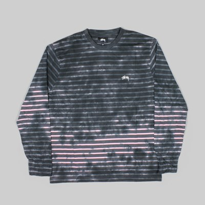 STUSSY BLEACH STRIPE LS CREW CHARCOAL