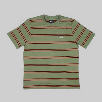 STUSSY DOUBLE STRIPE SS CREW OLIVE