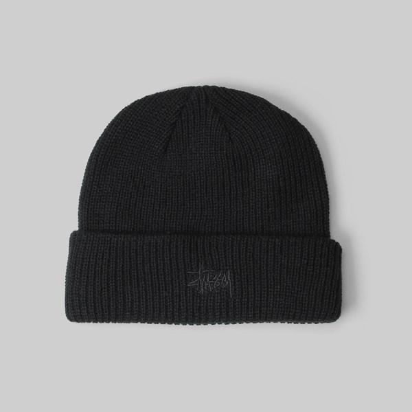 STUSSY FA18 BASIC CUFF BEANIE HAT BLACK  03b914a3492