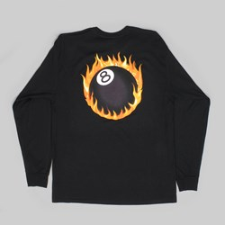 STUSSY FIREBALL LONG SLEEVE TEE BLACK