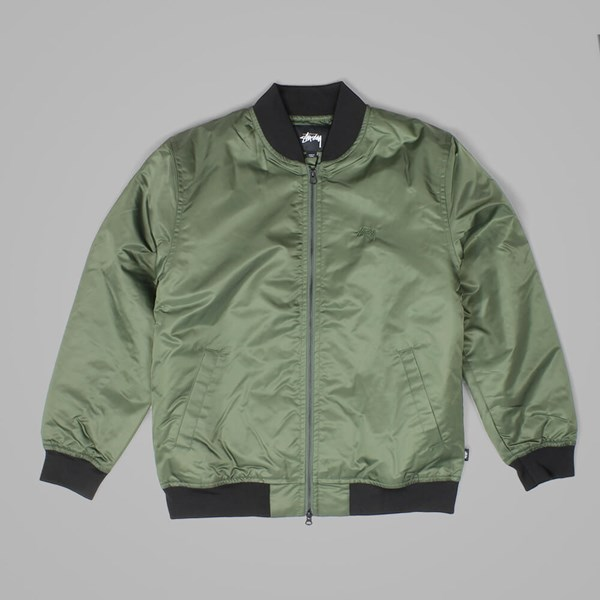 STUSSY FLIGHT SATIN BOMBER JACKET OLIVE