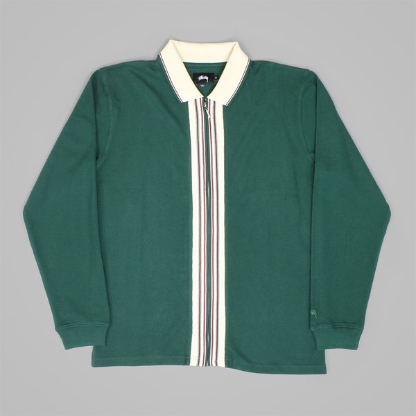 e7d8fcb6b99bd STUSSY FULL ZIP LS POLO SHIRT FOREST