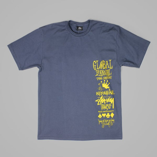 STUSSY GLOBAL GATHERING T SHIRT MIDNIGHT