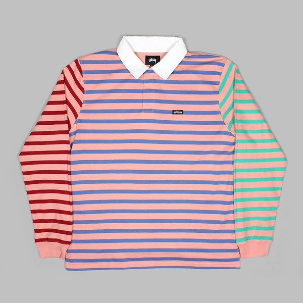 STUSSY JONAH STRIPE LS RUGBY JERSEY PINK