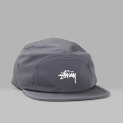 STUSSY NYLON POLY STOCK LOGO CAMP CAP CHARCOAL