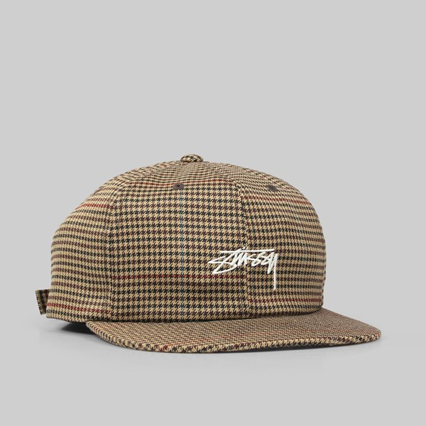 34d74b555ca STUSSY SMALL CHECK STRAPBACK CAP CAMEL