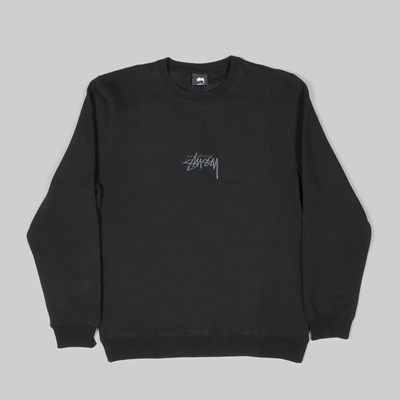 STUSSY STOCK APPLIQUE CREW SWEAT BLACK