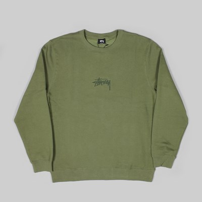 STUSSY STOCK APPLIQUE CREW SWEAT OLIVE