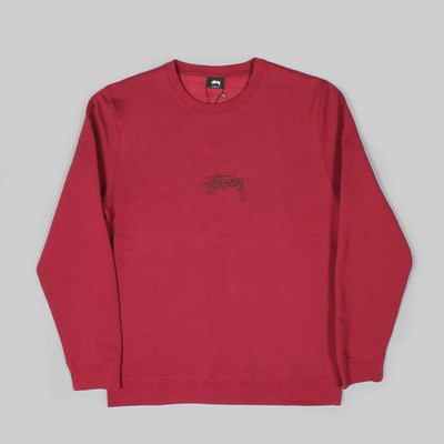 STUSSY STOCK APPLIQUE CREW SWEAT WINE