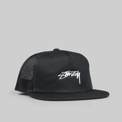 STUSSY STOCK FOAM TWILL TRUCKER CAP BLACK