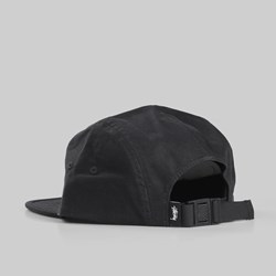 STUSSY STOCK HERRINGBONE CAMP CAP BLACK