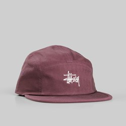 STUSSY STOCK HERRINGBONE CAMP CAP BURGUNDY