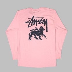 STUSSY STOCK LION LONG SLEEVE TEE DUSTY ROSE