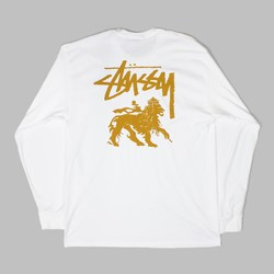 STUSSY STOCK LION LONG SLEEVE TEE WHITE