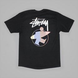 STUSSY SURFMAN CHECK T SHIRT BLACK