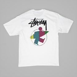 STUSSY SURFMAN CHECK T SHIRT WHITE