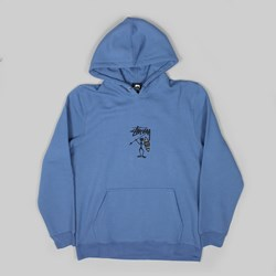 STUSSY TRIBE MAN APPLIQUE HOOD COOL BLUE
