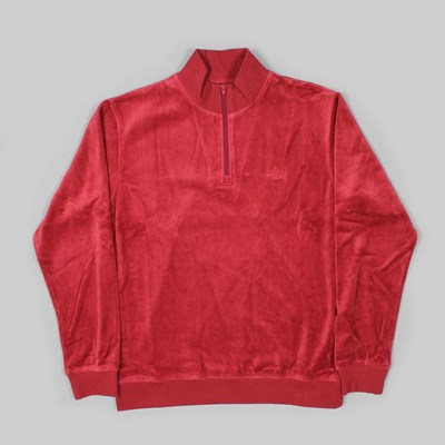 STUSSY VELOUR LS ZIP MOCK NECK TOP MAROON