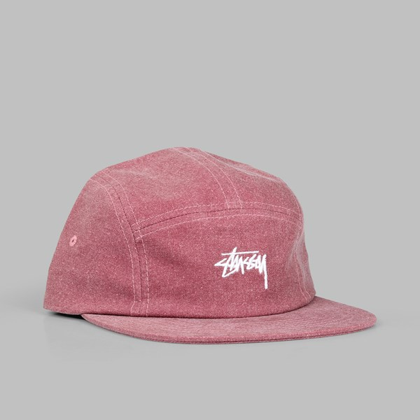 STUSSY WASHED OXFORD CANVAS CAP RED