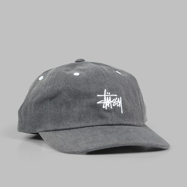 STUSSY WASHED STOCK LOW CAP BLACK