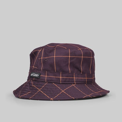 STUSSY WINDOW PANE BUCKET HAT MAROON