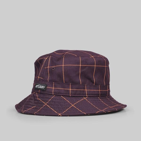 990097c82fc STUSSY WINDOW PANE BUCKET HAT MAROON