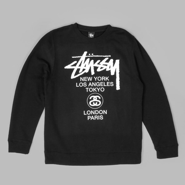 STUSSY WORLD TOUR CREWNECK BLACK