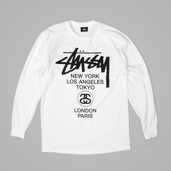STUSSY WORLD TOUR L/S T SHIRT WHITE-BLACK