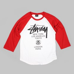 STUSSY WORLD TOUR RAGLAN WHITE RED