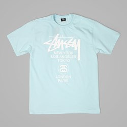 STUSSY WORLD TOUR T SHIRT LIGHT BLUE