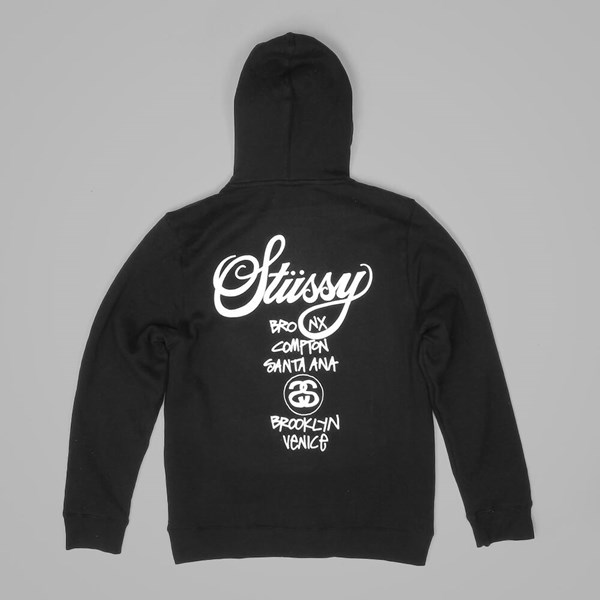 STUSSY WORLD TOUR ZIP HOOD BLACK