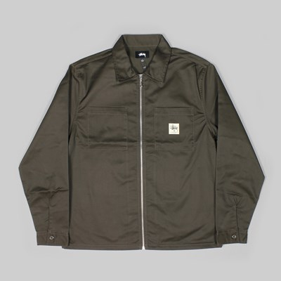 STUSSY ZIP UP WORK SHIRT JACKET BROWN